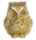 Metal Animal Figure of Owl in yellow finish