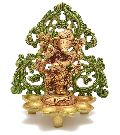 Religious figure of Ganesha Decorative Brass Statue with Farme