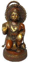Sitting Lord Hanuman antique finish brass figure
