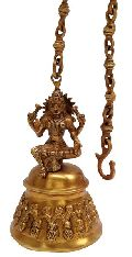 Temple Hanging Brass Bell with Goddess LaKshmi by Aakrati