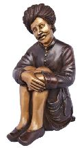 Traditional Sitting man Sculpture made by indian craftman