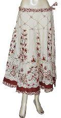 White Knne Length Skirt