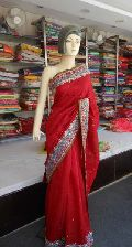 Designer Embroidered Zari Work Border Crepe Silk Red Saree
