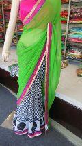 Designer Half Half Printed georgette Green and Balck Saree
