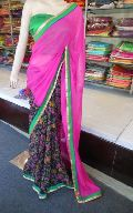 Designer Half Half Printed georgette Pink and Black Saree