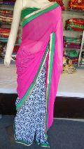 Designer Half Half Printed georgette Pink Saree