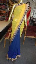 Designer  Half Half Zari Work Border Georgette Saree