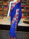 Designer Half Net Zari Work Border Purple Saree