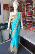 Designer Heavy Work Border Net Georgette Blue Saree