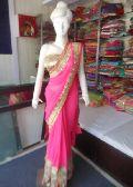 Designer Heavy Work Border Net Georgette Pink Saree