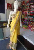 Designer Heavy Work Border Net Georgette Yellow Saree