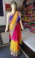 Designer Heavy Work Broad Border Shaded Georgette Multi Colour Saree