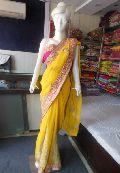 Designer Heavy Zari Work Border Plain Georgette Yellow Saree