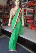 Designer Plain Georgette Yellow With Mirror Work Blouse Green Saree