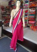 Designer Plain Georgette Yellow With Mirror Work Blouse Pink Saree