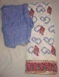 Designer Printed Blue coloured Cotton Punjabi Suits
