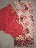 Designer Printed Red coloured Cotton Punjabi Suits