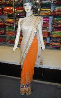 Designer Rasem with Zari Work Half Georgette Orange Saree