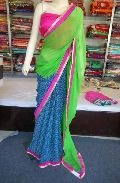 Half Half Printed georgette Green and Blue Saree