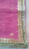 Pure Gota Work Georgette saree pink gold border