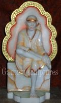 Sai Baba on Singhasan Colored Statue