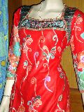 Embroidered Neck Cotton Red Kurti