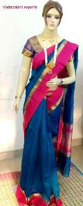 Coloured border plain cotton sarees