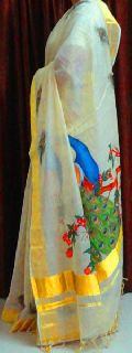 Hand Painted Hand Woven Tissue Saree