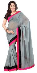 Bollywood Wedding Chiffon Plain Saree