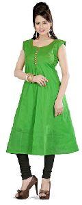 Green Colored Cotton Plain Kurti