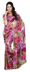 Multi Floral Printed Saree