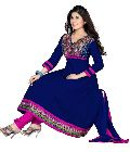 Navy Blue Cotton Embroidered Salwar Kameez