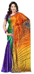 Party Wear Multicolored Jacquard Saree