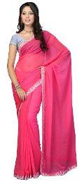 Pink Plain Chiffon Saree