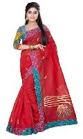Red Colored Embroidery Designs Saree