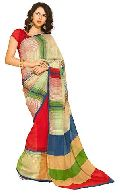 Striped Printed Silk Saree