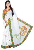White Cotton Embroidery Saree