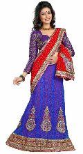 Alluring Blue Colored Georgette Net Lehenga Saree