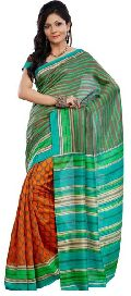 Chic Orange Colored Printed Art Silk Saree