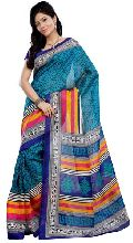Elegant Blue Colored Printed Art Silk Saree