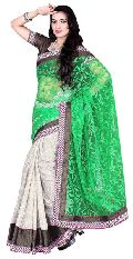 Evoking Border Worked Off White Colored Brasso Cotton Saree 715D