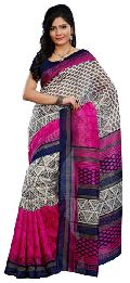 Graceful Off White Colored Printed Art Silk Saree