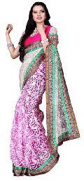 Impressive Border Worked Pink Colored Brasso Tissue Saree 714a