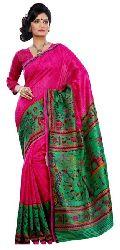 Trendy Magenta Colored Printed Art Silk Saree 5636