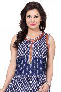 Beautilicious Blue-White Cotton Anarkali Style Sleeveless Tunic