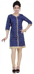 Bright-As-Blue Fashionably Printed Cotton Kurta for Women