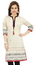 Celebrating Simplicity Mid-Length Off White Cotton Kurti
