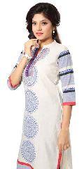 Charismatic Chakra Off White and Blue Printed Cotton Long Kurti