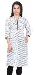 Elegant Embrace Piebald Cotton Indian Long Tunic Top