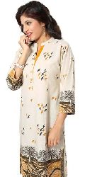Parlor-of-Print Off white Long Kurti for Fashionable Women